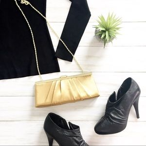 Jessica McClintock Gold Satin Clutch/Chain Bag